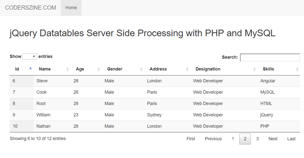 jQuery Datatables Server Side Processing with PHP & MySQL